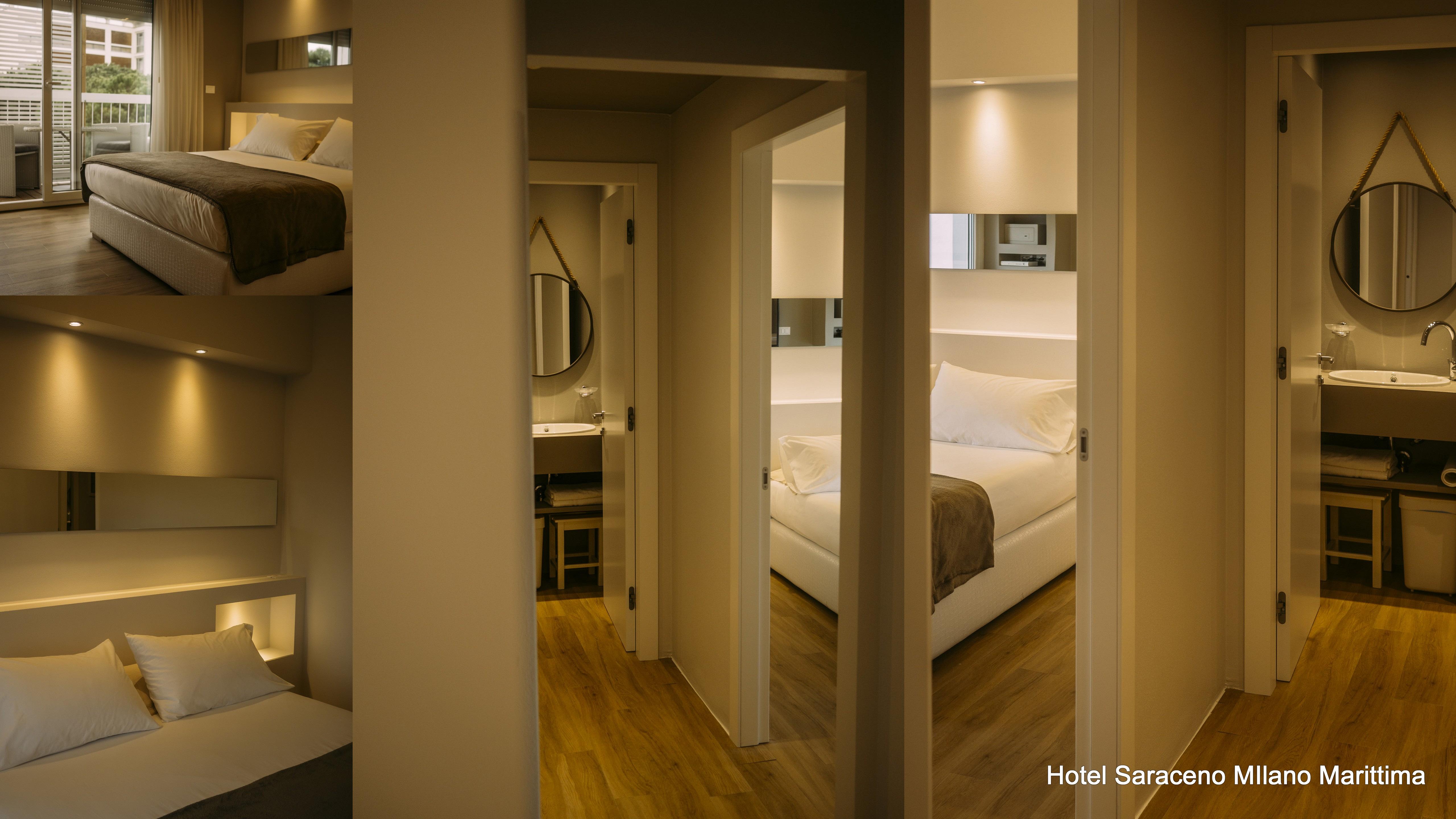 Camera soggiorno e bagni family suite hotel saraceno milano marittima